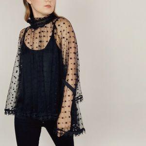 Gracia Black Sheer Star Print Bell Sleeve Top